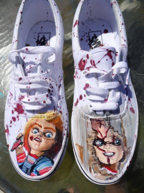 Custom Painted Vans for every Chucky lover. Via  seriouslysavage. These are painted with fabric paint and UV protected, so they won't fade by the end of the day.