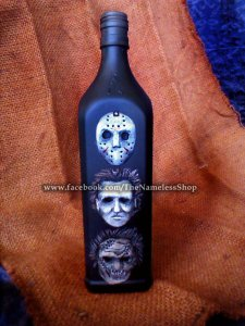 Horror Icons sculpted bottle. Jason, Michael Meyers, Leatherface